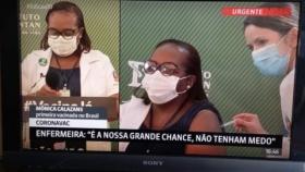 Enfermeira Mônica Calazans é a 1ª vacinada contra Covid-19 no Brasil